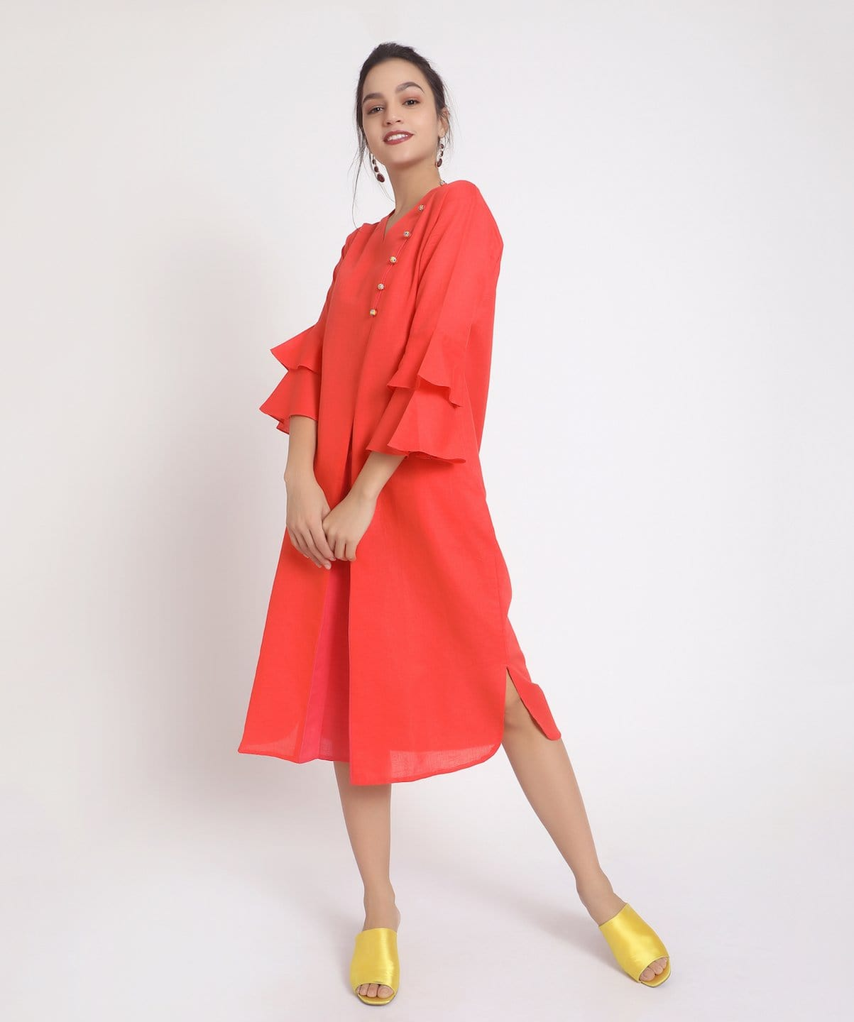 Solid Coral Bell Sleeves Linen Kurti/Dress