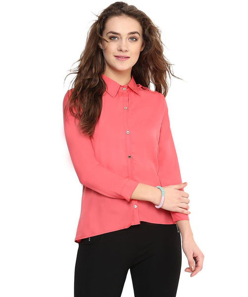 Uptownie Solid Coral Button Down Crepe Shirt 1 clearance sale