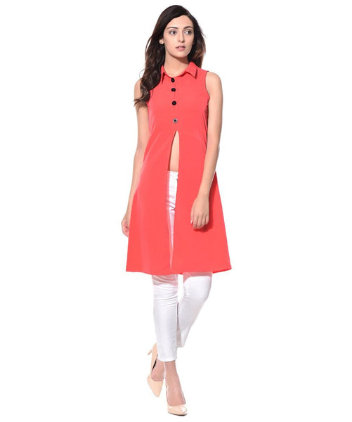 Solid Coral Buttoned Front Slit Tunic
