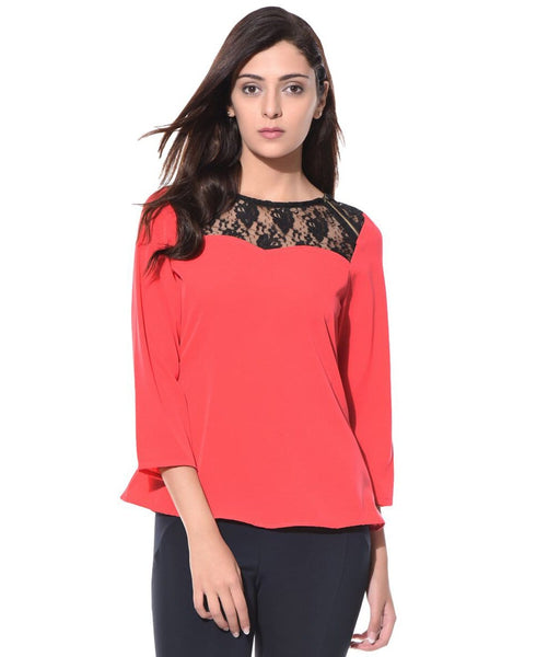 Uptownie Solid Coral Lace Neck Casual Top 1 trendsale