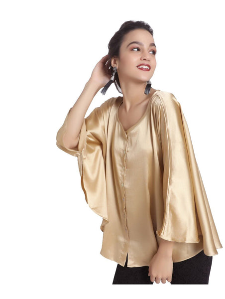 Solid Gold Satin Cape Top, CLEARANCE SALE