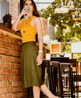 Uptownie Solid Green Adjustable Culottes 1 Sale at 399