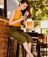Uptownie Solid Green Adjustable Culottes 2 Sale at 399