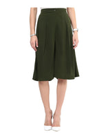 Uptownie Solid Green Adjustable Culottes 3 Sale at 399
