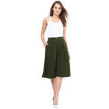 Uptownie Solid Green Adjustable Culottes 7 summer sale