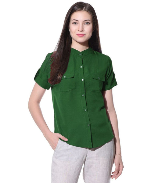 Uptownie Solid Green Button Down Shirt 1 clearance sale