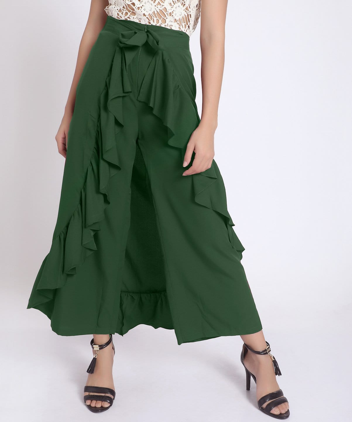 Uptownie Solid Green Flared Ruffled Pants 1 clearance sale