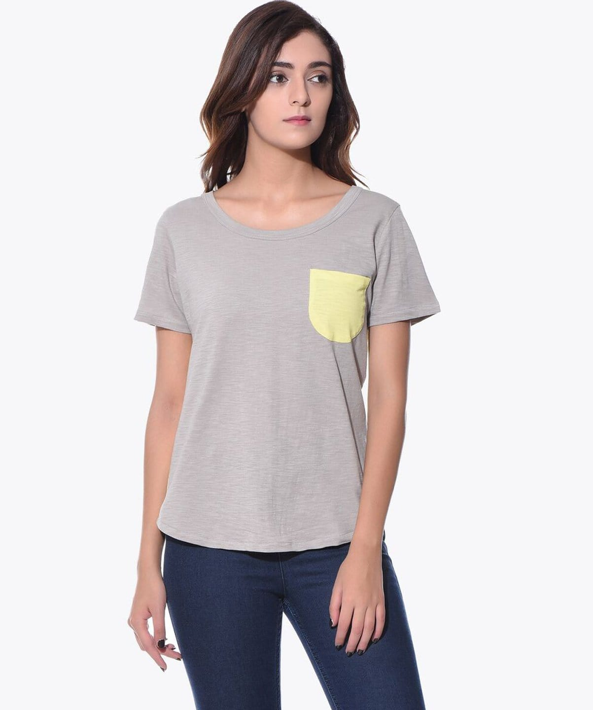 Uptownie Solid Grey Yellow Color Block T-shirt (cotton) 1 summer sale
