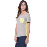 Uptownie Solid Grey Yellow Color Block T-shirt (cotton) 2 summer sale