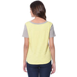 Uptownie Solid Grey Yellow Color Block T-shirt (cotton) 3 summer sale
