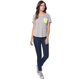 Uptownie Solid Grey Yellow Color Block T-shirt (cotton) 4 clearance sale