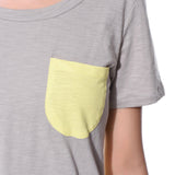 Uptownie Solid Grey Yellow Color Block T-shirt (cotton) 5 clearance sale