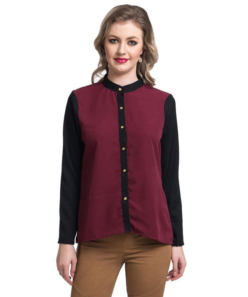 Solid Maroon Button Down Crepe Shirt - Uptownie