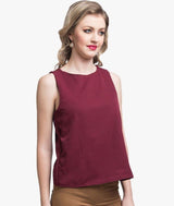 Solid Maroon Cross Back Crepe Top. BUY 1 GET 3