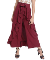 Uptownie Solid Maroon Flared Ruffle Adjustable Pants 3 clearance sale
