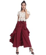 Uptownie Solid Maroon Flared Ruffle Adjustable Pants 4 trendsale