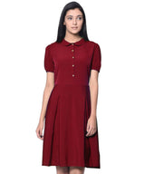 Solid Maroon Peterpan Collar Skater Dress BUY 1 GET 3