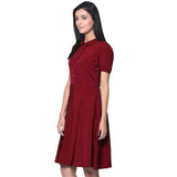 Solid Maroon Peterpan Collar Skater Dress