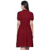 Uptownie Plus Solid Maroon Peterpan Collar Skater Dress