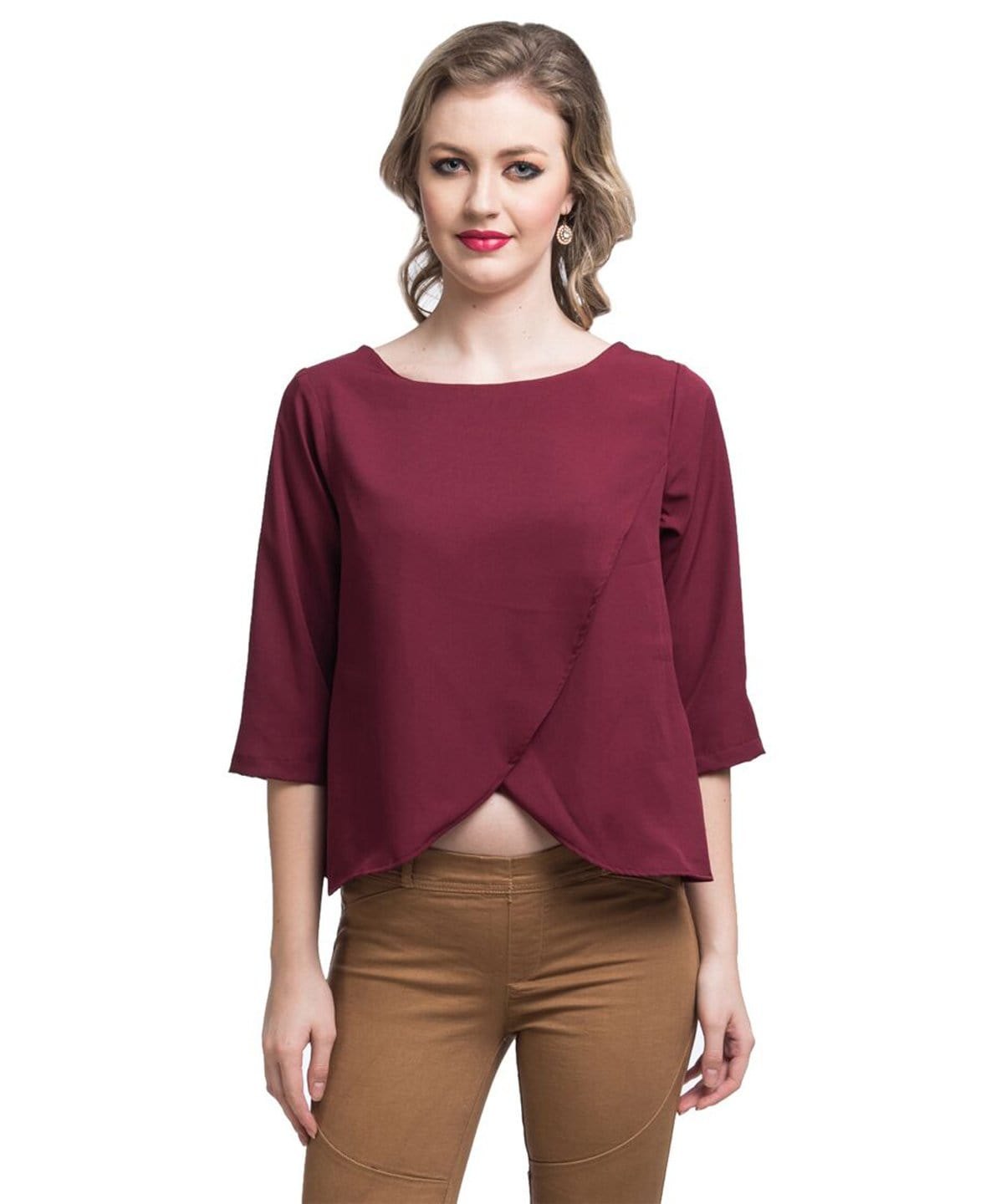 Solid Maroon Wrap Crepe Top. FLAT 20% OFF