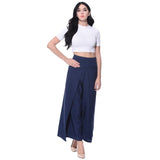 Uptownie Solid Navy Blue Adjustable Palazzo 4 summer sale
