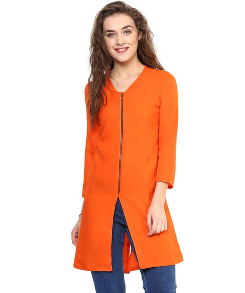 Solid Orange Front Zipped Crepe Tunic