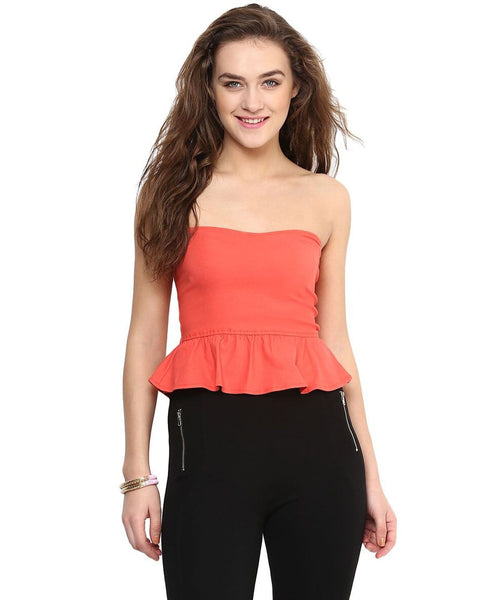 Solid Orange Tube Top. FLAT 20% OFF