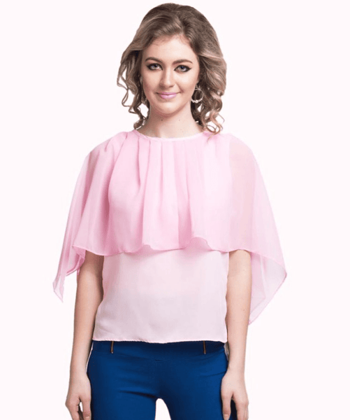 Solid Pink Cape Crepe and Georgette Top - Uptownie