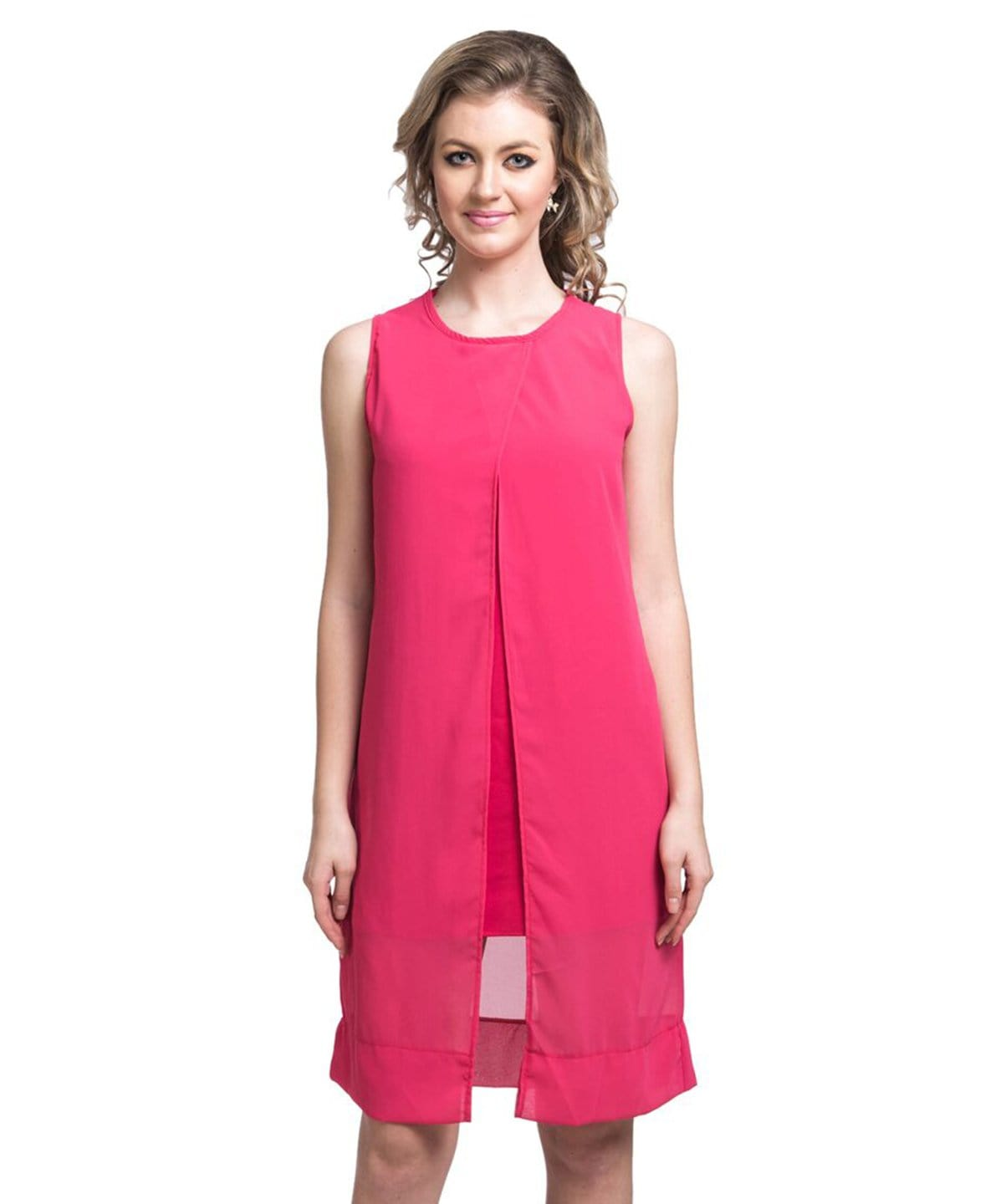 Solid Pink Casual Dress/Tunic