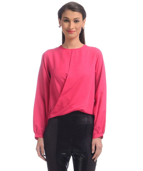 Uptownie Solid Pink Draped Crepe Top 1 Sale at 399