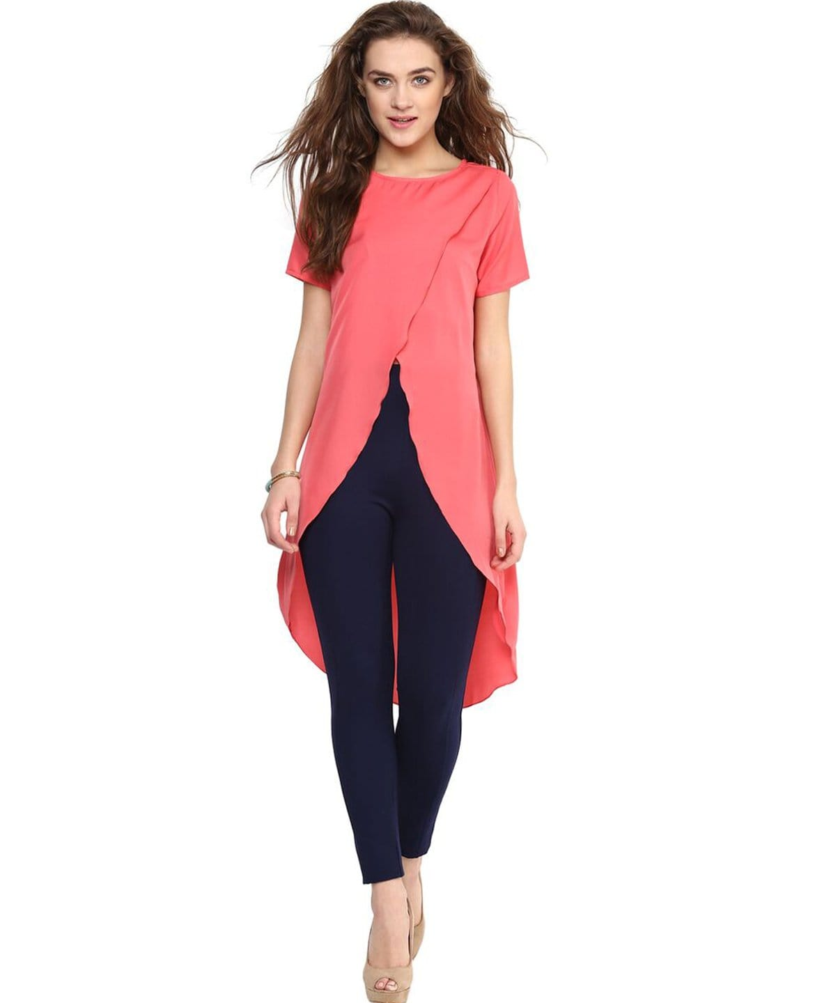Solid Pink Front Cutout Tunic. FLAT 20% OFF