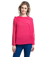 Solid Pink Full Sleeves Georgette Top