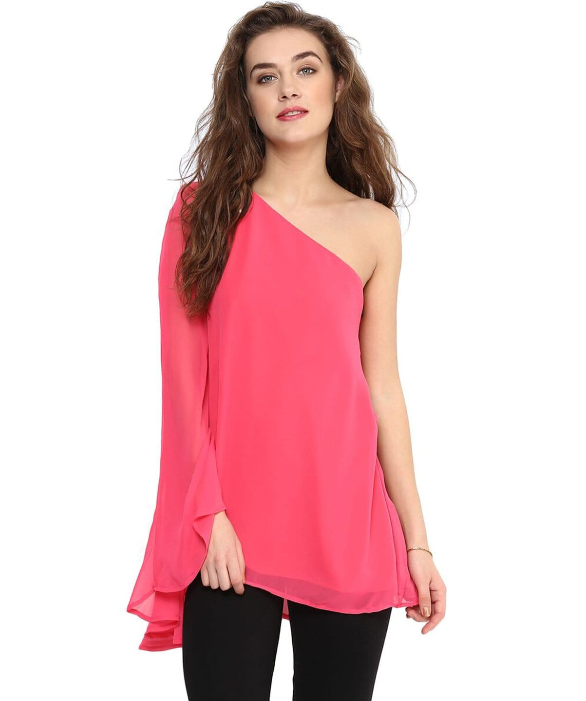 Solid Pink One-shoulder Georgette Top. SALE UNDER 399
