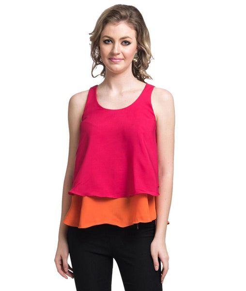 Uptownie Solid Pink & Orange Layered Crepe Top 1 summer sale