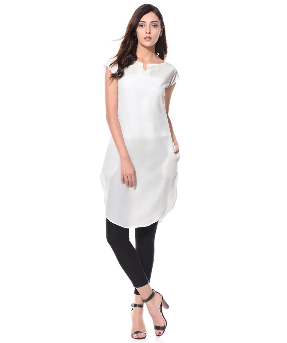 Solid White Cap Sleeves Long Crepe Tunic