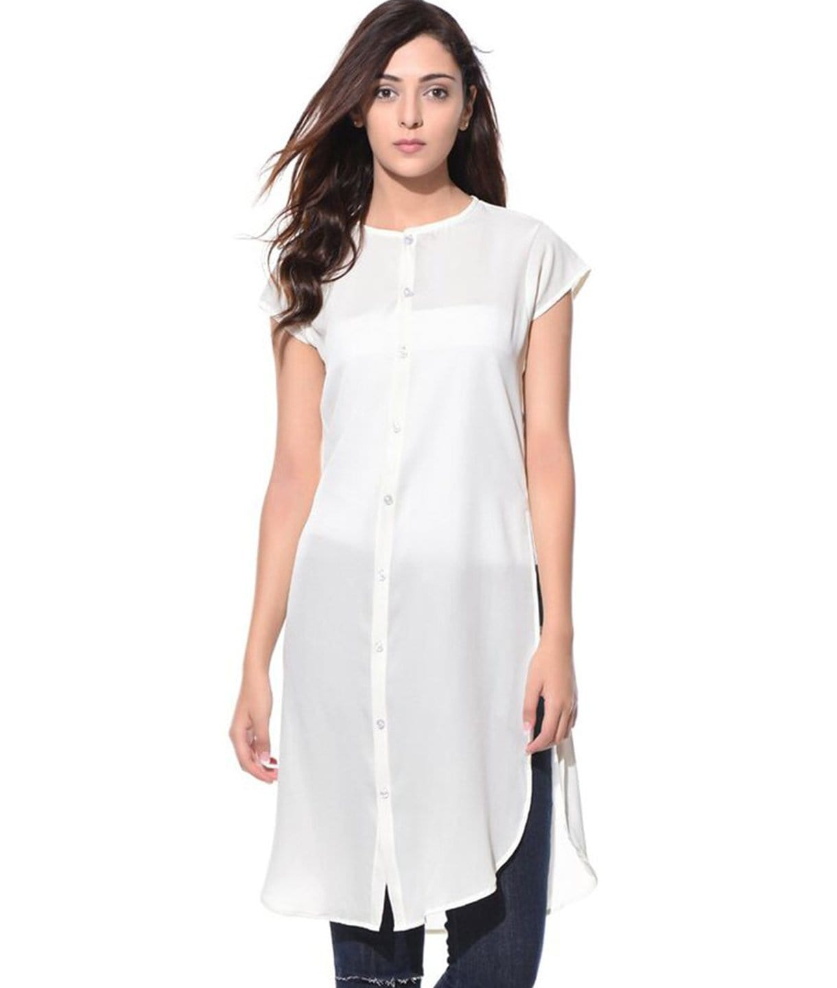 Uptownie Solid White Casual Buttoned Crepe Tunic 1 summer sale