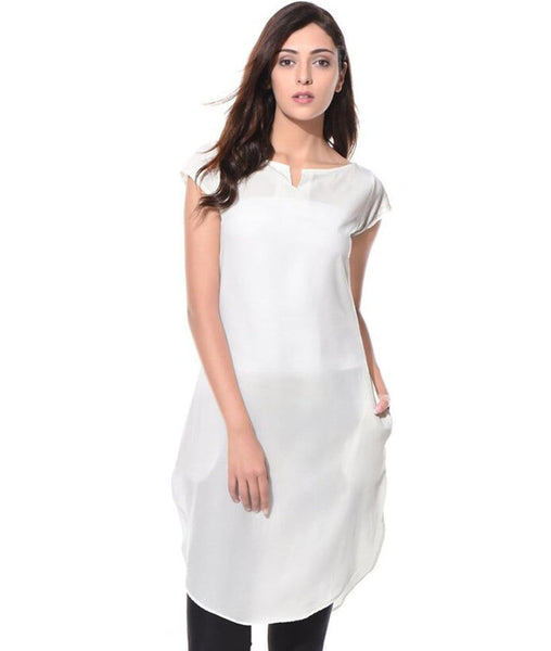 Solid White Cap Sleeves Long Crepe Tunic. BUY 1 GET 3