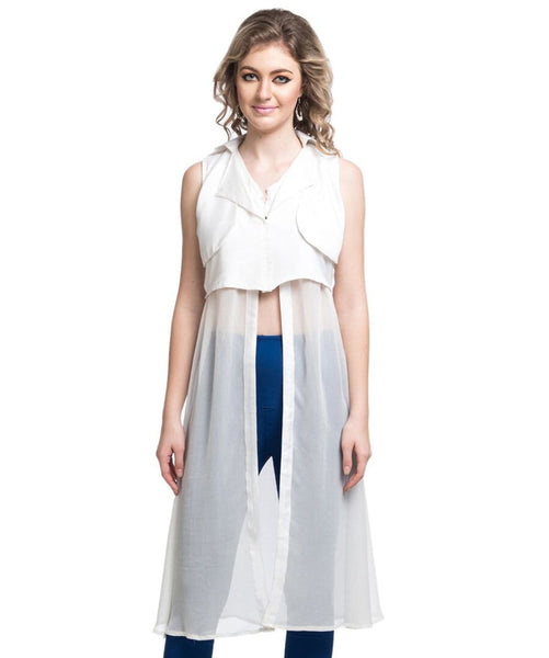 Solid White Casual Slit Crepe And Georgette Tunic. BUY 1 GET 3