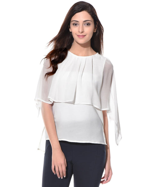 Solid White Crepe and Georgette Cape Top