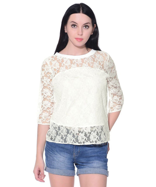 Solid White Crepe and Lace Top
