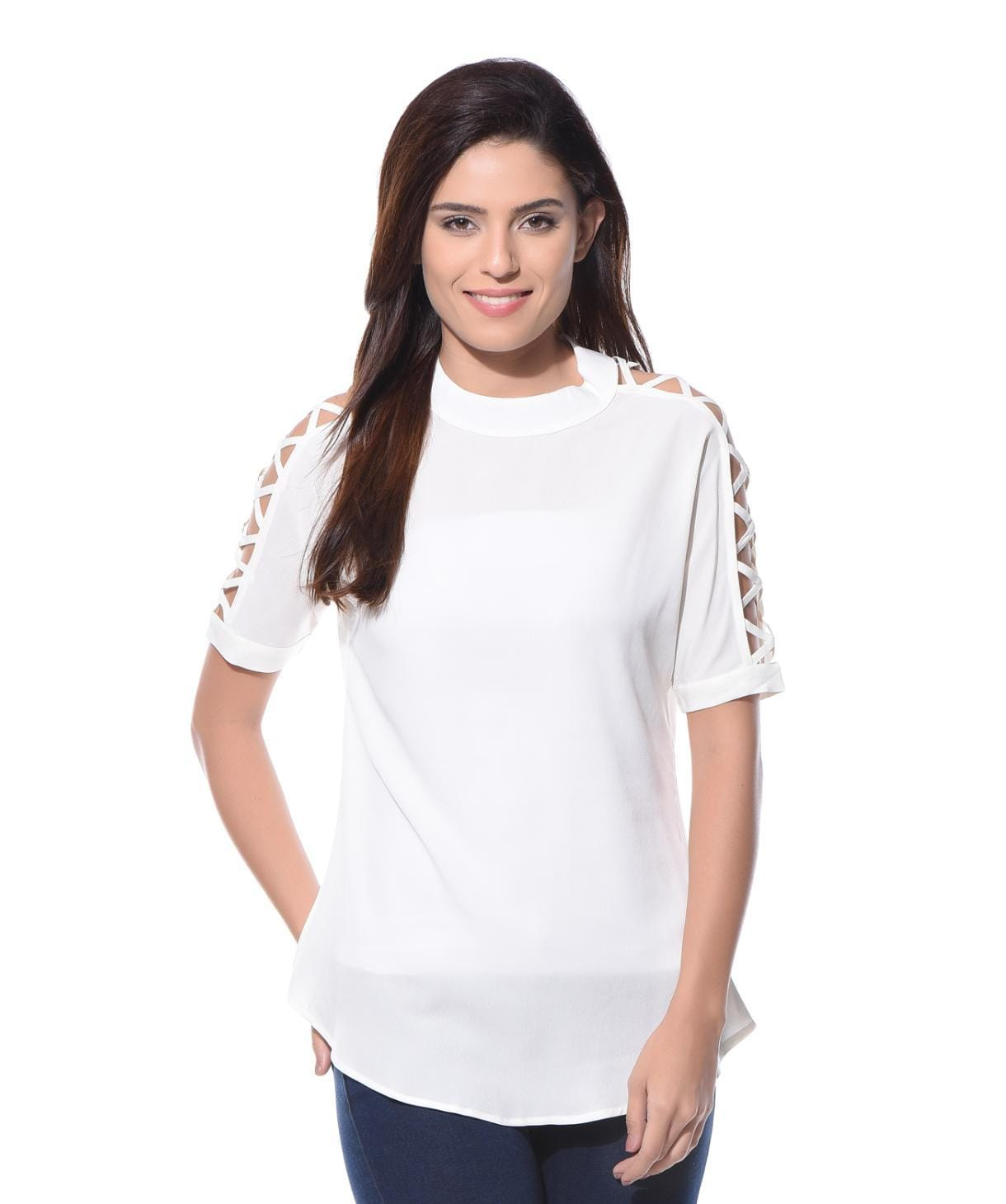 Solid White Cutout Sleeves Crepe Top