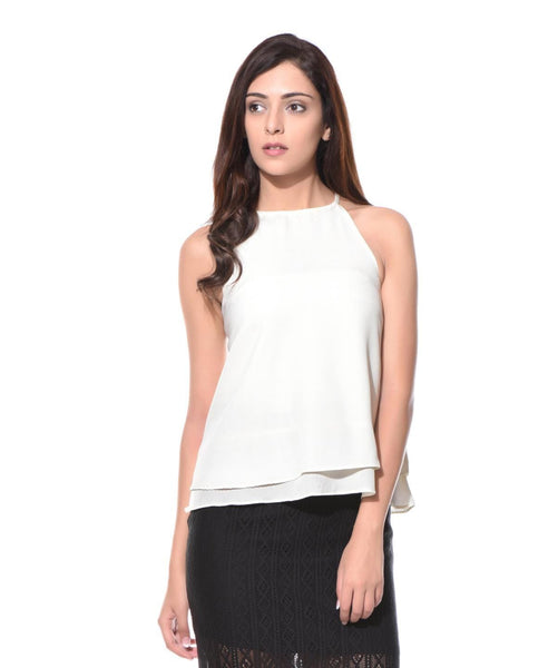 Uptownie Solid White Halter Crepe Top 1 clearance sale
