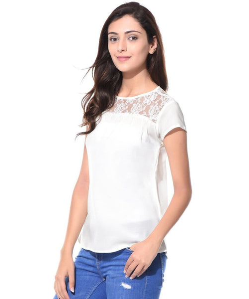 Solid White Lace Neck Crepe Top - Uptownie