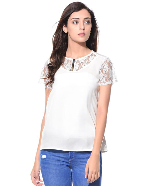 Solid White Lace Neck & Sleeves Lace Top - Uptownie