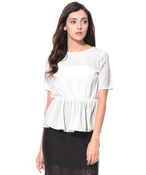 Solid White Peplum Crepe Top