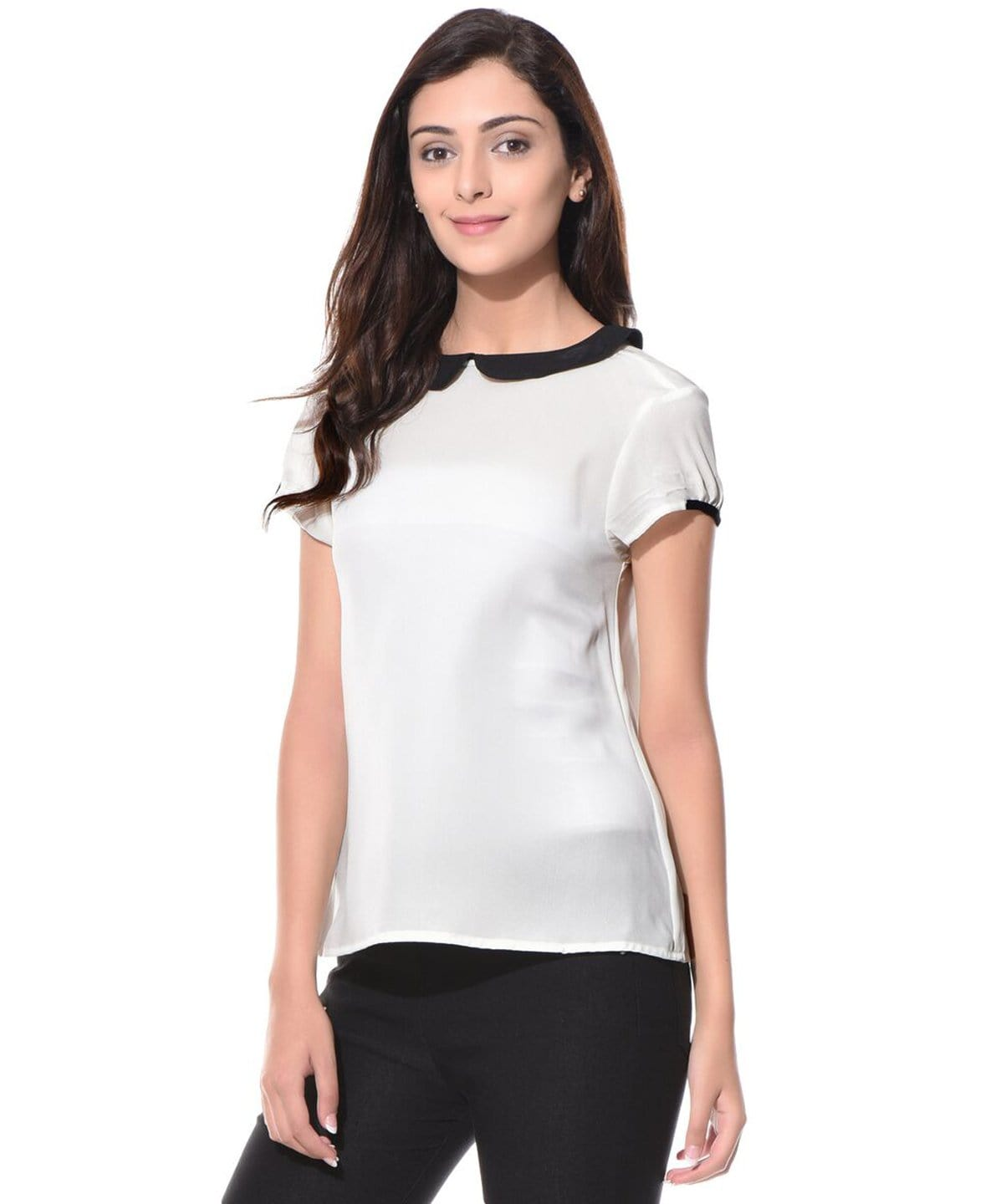 Solid White Peterpan Collar Crepe Top