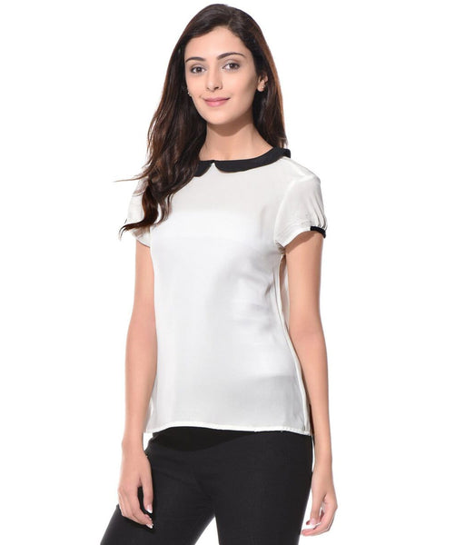 Solid White Peterpan Collar Crepe Top - Uptownie
