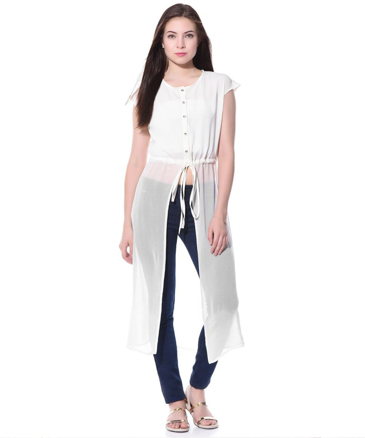 Solid White Tie Up Crepe Georgette Tunic. BUY 1 GET 3