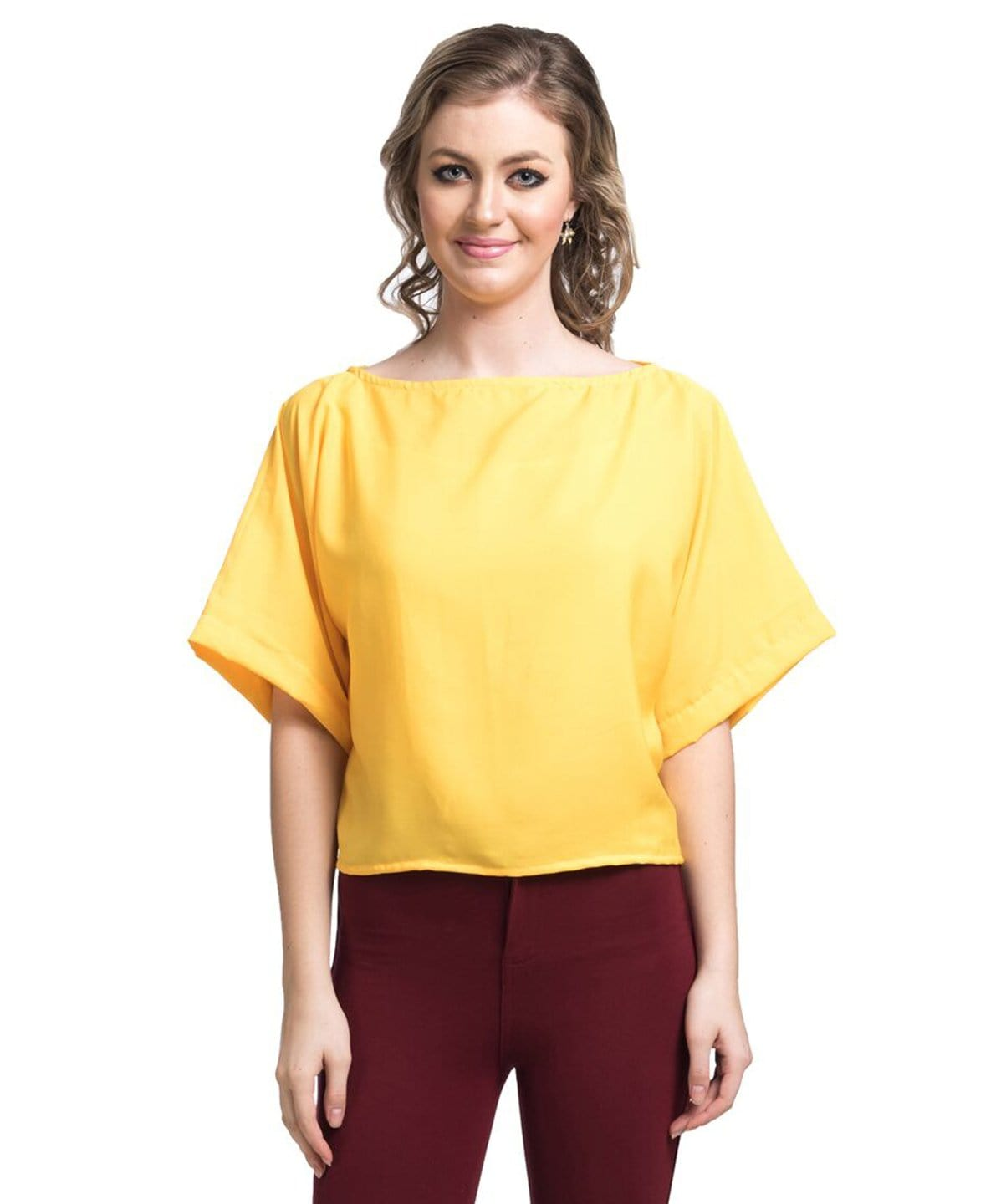Uptownie Solid Yellow Boxy Top 1 summer sale