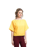 Uptownie Solid Yellow Boxy Top 2 summer sale